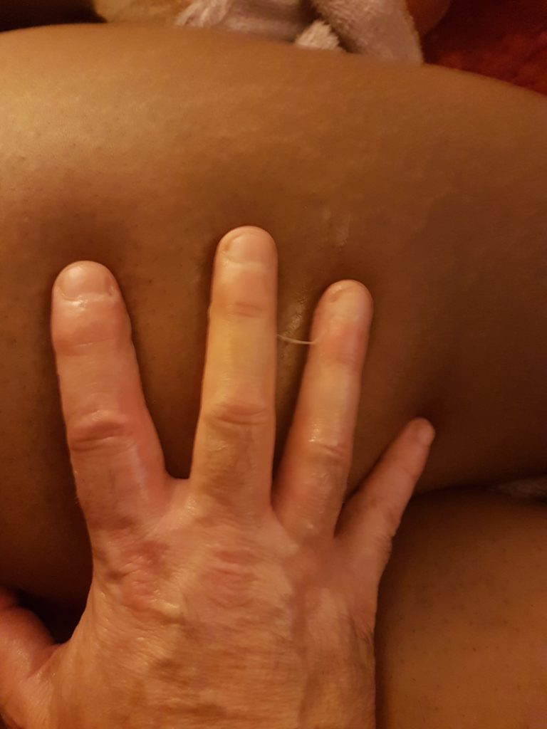 Daddy's fingers against Cara's dark skin after he made her come in post titled Wet Kitty