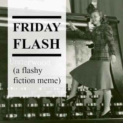 Friday flash written on the meme with an old fashion woman near a big typewriter
