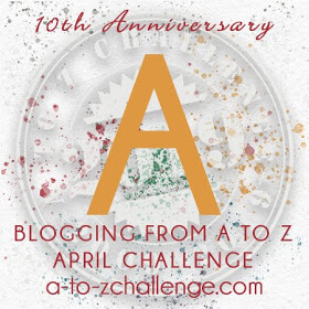 Graphic with a large A in yellow. Beneath reads blogging from A to Z blogging challenge