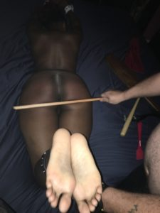 Cane landing on bare bottom
