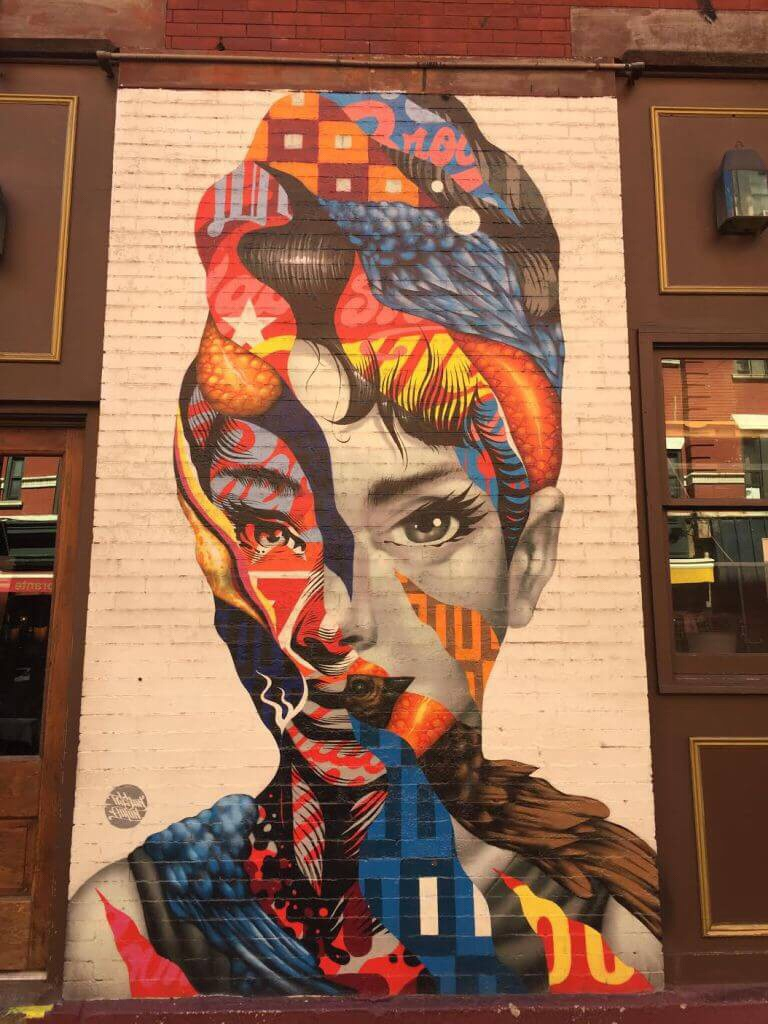 A mural of Audrey H.
