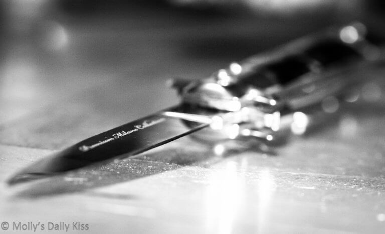 black and white photo of a knife, blade toward the camera