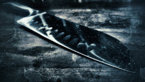 A knife in black and white
